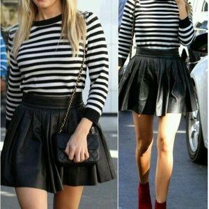 Alice + Olivia Pleat Leather Skirt Black Size 4
